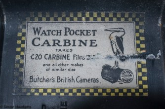 Butcher's Watch Pocket Carbine camera - film notice