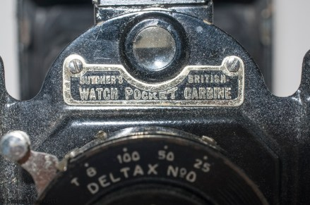Butcher's Watch Pocket Carbine camera - name plate