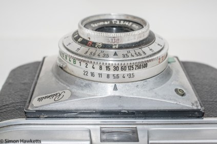 Kodak Retinette Type 22 35mm camera - Top View showing exposure settings