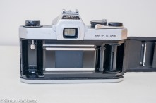 Pentax Spotmatic SP-500 35mm slr - Back of camera with film door open
