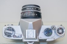 Yashica J-3 35mm slr camera - Top of camera controls