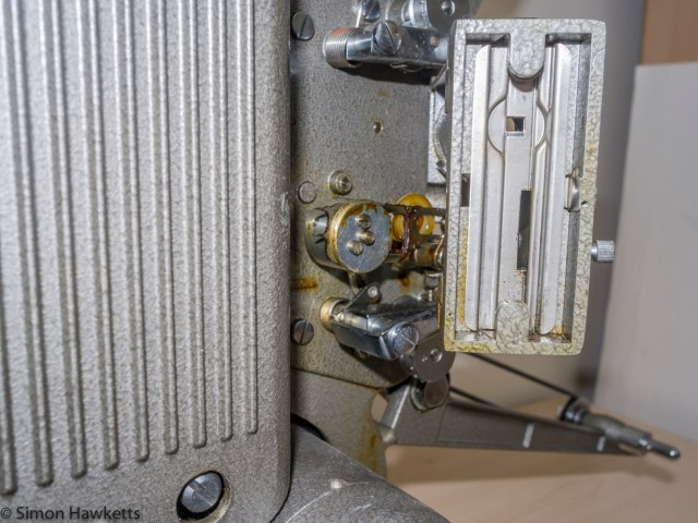 Specto 500 8mm cine projector - The (rather greased up) film claw mechanism