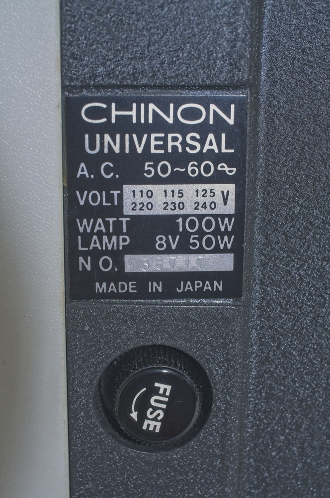 Chinon Universal 8 projector - Type and serial no plate and fuse