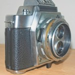 Agfa Flexilette 35mm TLR -Side view showing flash sync