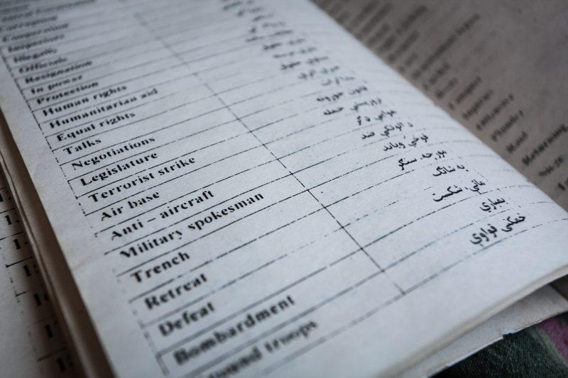Wörterbuch Englisch-Paschtu. (c) Simon Klingert
