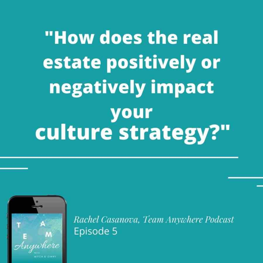 how does the real estate positively or negatively impact your culture strategy? (Quote Rachel casanova) Team anywhere leadership podcast employee engagement