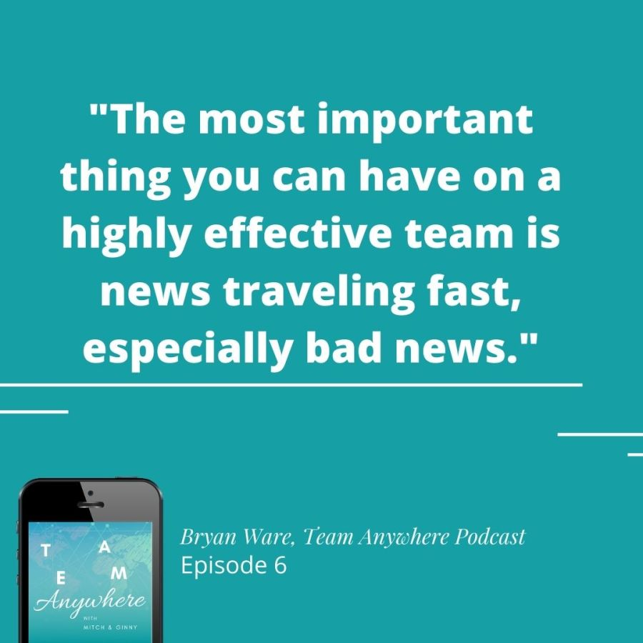 """""""the most important thing you can have on a highly effective team is news traveling fast, especially bad news"""" Bryan Ware how-to-create-intentional-meetings-online-meetings-virtual-meetings-team-anywhere-leadership-podcast-42"""
