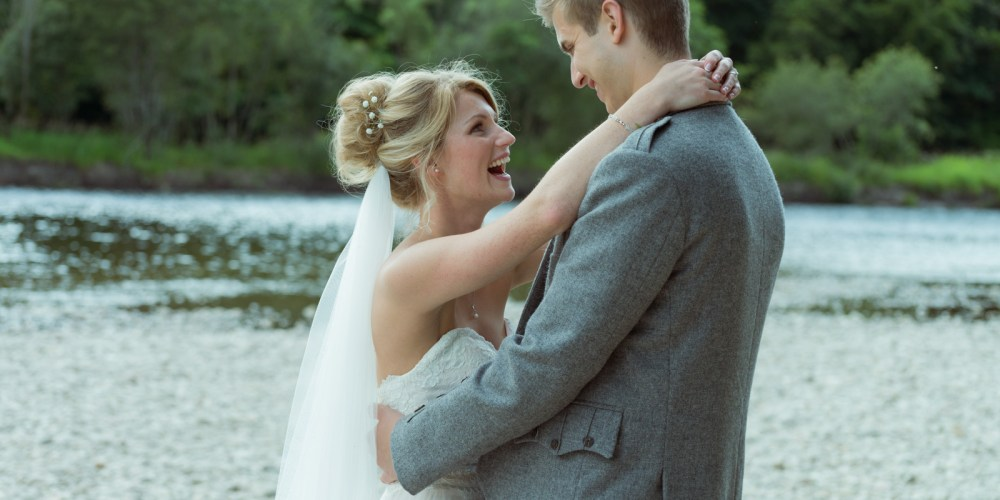 Bride and groom - romantic by the river Tay at Dunkeld House Hotel 4