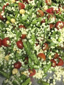 Israeli Couscous Salad with fresh tomatoes, and sugar snap peas