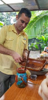 Traditional cacao drink being made