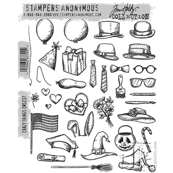 Tim Holtz Cling Rubber Stamps 2015 CRAZY THINGS CMS237