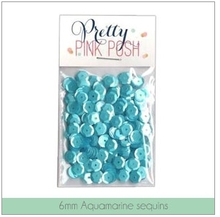 Pretty Pink Posh 6MM AQUAMARINE Flat Sequins