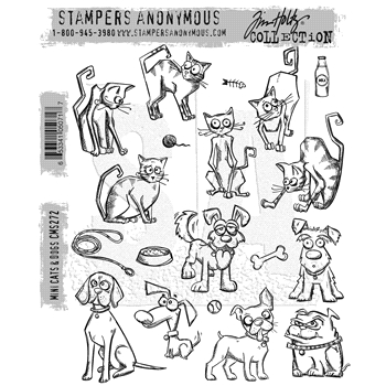 Tim Holtz Cling Rubber Stamps 2016 MINI CRAZY CATS AND DOGS CMS272