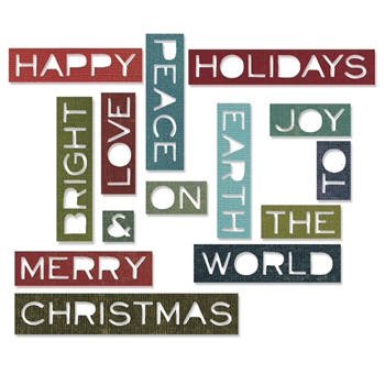 Tim Holtz Sizzix HOLIDAY WORDS 2 THIN Thinlits Die 661601