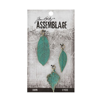 Tim Holtz Assemblage PACK OF 3 LARGE PATINA LEAVES CHARMS THA20042