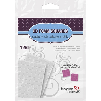Scrapbook Adhesives 126 3D WHITE FOAM SQUARES Adhesive