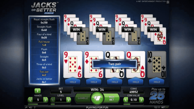 This is a screencap image of the mobile version of Jacks or Better: Double Up video poker released by Netent in 2014. You can play with this poker card game online on this web page.