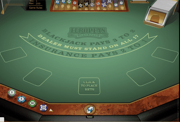 The picture shows you the features of the European Blackjack