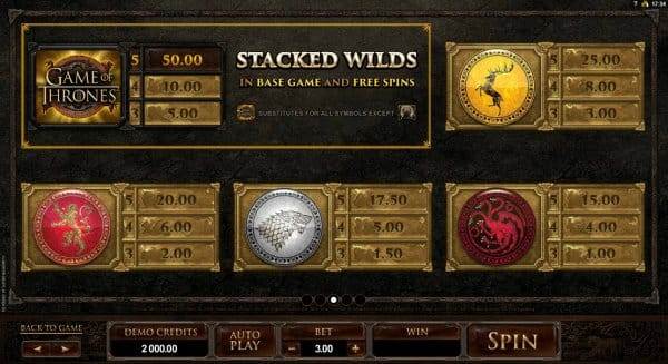 The picture shows you the paytable and the winning combination of the Game of Thrones online slot game