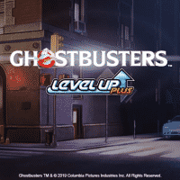 The logo of IGT Ghostbusters Level Up Plus Video Slot. The logo depicts the New York HQ of the ghostbusters, as seen in the movies, and title of the online slot game can be seen in the foreground. If you click on the picture, you'll be taken to a page where you can play this game, no registration, no deposit needed.