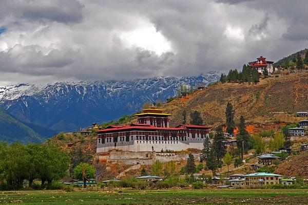 Dzong architecture in Paro Valley, Bhutan