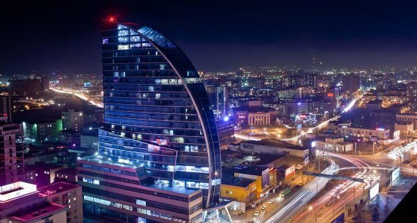 Aerial view of Ulaanbaatar, the capital of Mongolia at night