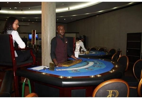 Gaming table in the Casino Kinshasa, Congo