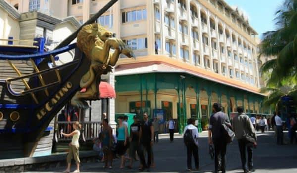 Facade of the Caudan Waterfront Casino in Mauritius