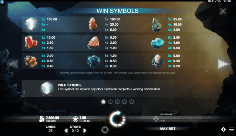 This is the paytable of the 2018 Rabcat slot machine Crystal Rift. You can see the winning symbols and how much they earn you.