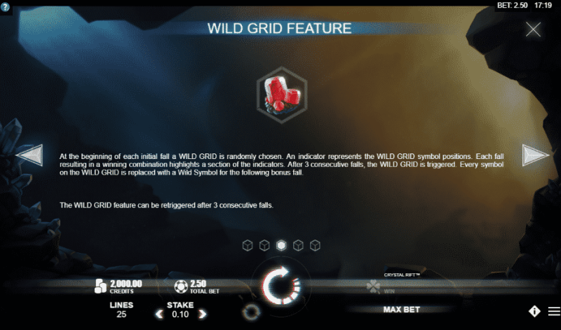 This is a screenshot of the built-in in-game tutorial explaining the so called wild grid feature of the slot game.