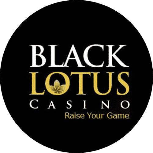 """This is the official logo of Black Lotus Casino an online gambling website, used with permission. The digital image consist of the black and gold letters """"Black Lotus Casino Raise your Game"""" over a black background (the background is a black circle). Raise your game is the slogan of this Genesys Technologies casino. You can read the review of this online casino under the picture."""
