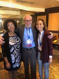 Jim Simons with two NSBP members and current Harvard Ph.D. students Delilah Gates and Lanell Williams.
