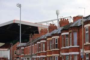Terraced houses surround Crewe Alexandra's stadium on Gresty Road
