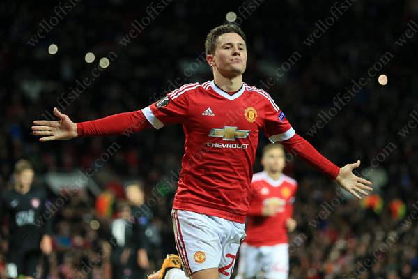 Ander Herrera of Man Utd celebrates after scoring their 4th goal against FC Midtjylland