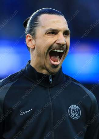 Zlatan Ibrahimovic of PSG stretches his jaw before the UEFA Champions League match against Manchester City