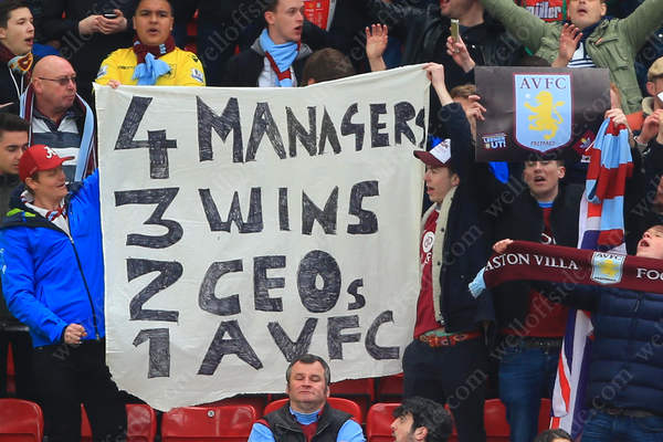 Aston Villa fans vent their frustration during their side's match against man Utd