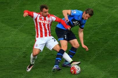 Xherdan Shaqiri of Stoke battles with Jan Vertonghen of Spurs