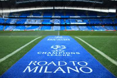 The blue carpet is laid out at the Etihad Stadium prior to the UEFA Champions League semi-final first leg match between Man City and Real Madrid