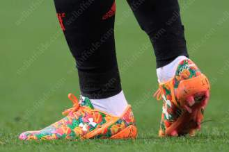 Tulips on the personalised Under Armour boots worn by Dutch players Memphis Depay of Man Utd