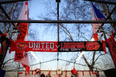 Scarves for sale ahead of the UEFA Europa League tie between Manchester United and Liverpool