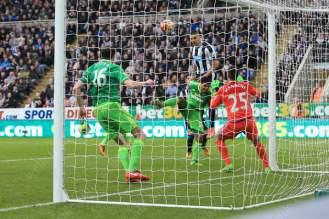 Aleksandar Mitrovic of Newcastle scores their equaliser