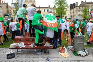 Irish fans enjoying a beer in the square