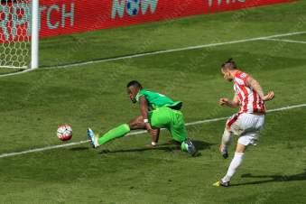 Marko Arnautovic of Stoke scores their 1st goal against Sunderland