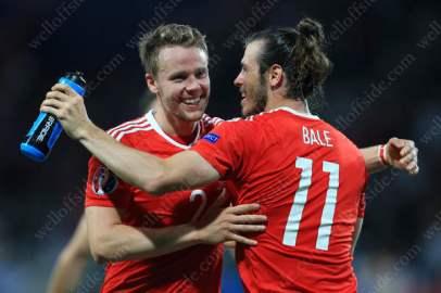 Chris Gunter and Gareth Bale celebrate Wales' victory