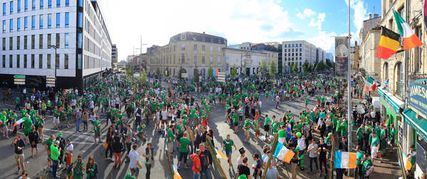 Irish fans take over the square as the sun begins to set