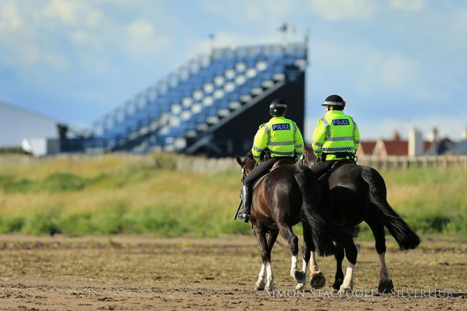 TROON, SCOTLAND - JULY 13: Police officers on horseback patrol the beach alongside the course during the final practice round prior to the 145th Open Championship at Royal Troon Golf Club on 13th July 2016 in Troon, Scotland. Photo by Simon Stacpoole/SilverHub 0203 174 1069 / 07711 972644