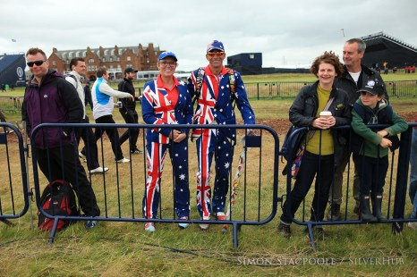 TROON, SCOTLAND - JULY 16: Two Australian fans wearing flag suits watch from the path alongside the 1st fairway during the 145th Open Championship at Royal Troon Golf Club on 16th July 2016 in Troon, Scotland. Photo by Simon Stacpoole/SilverHub 0203 174 1069 / 07711 972644
