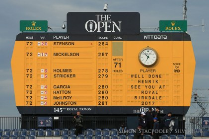 TROON, SCOTLAND - JULY 17: The scoreboard shows the final placings at the end of the 145th Open Championship at Royal Troon Golf Club on 17th July 2016 in Troon, Scotland. Photo by Simon Stacpoole/SilverHub 0203 174 1069 / 07711 972644