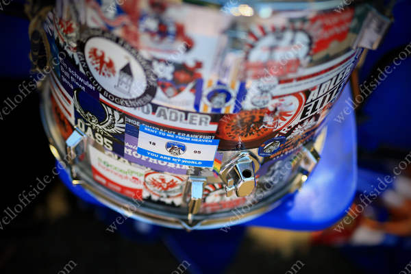 A drum belonging to the Oldham Ultras covered in souvenir stickers