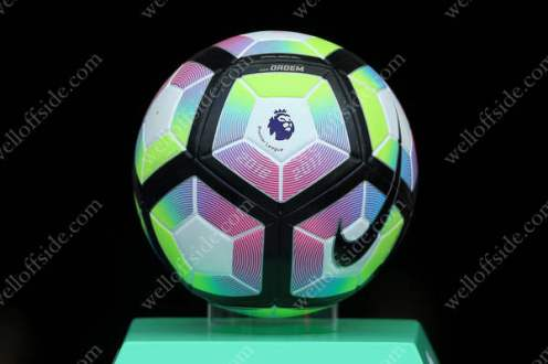 The Premier League matchball sits on it's plinth ahead Man City's match at home to Sunderland